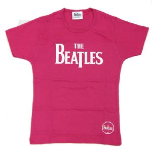 The Beatles Logo Design Pink Ladies Fitted T-Shirt